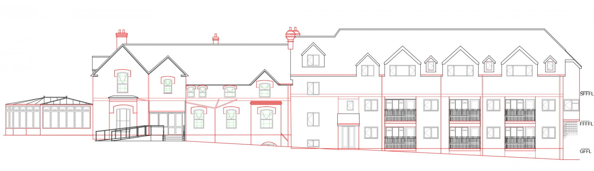 Elevation of care home, Suffolk